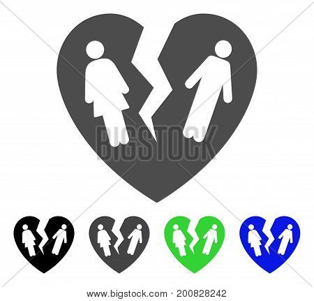 Broken Family Heart flat vector pictograph. Colored broken family heart, gray, black, blue, green pictogram variants. Flat icon style for web design.