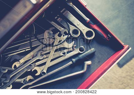 Set of Steel Wrenches in the Repair Tool Box. Closeup Photo.