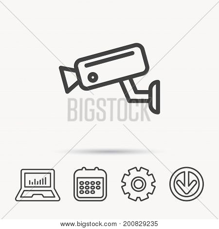 Video monitoring icon. Camera cctv sign. Notebook, Calendar and Cogwheel signs. Download arrow web icon. Vector