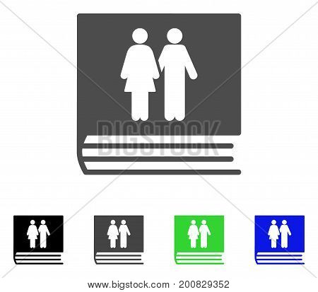 Family Album flat vector pictogram. Colored family album, gray, black, blue, green icon variants. Flat icon style for application design.