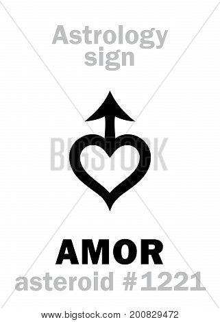 Astrology Alphabet: AMOR, asteroid #1221. Hieroglyphics character sign (single symbol).
