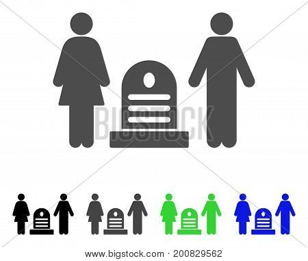 Family Cemetery flat vector icon. Colored family cemetery, gray, black, blue, green pictogram variants. Flat icon style for graphic design.