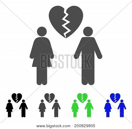 Family Divorce flat vector pictograph. Colored family divorce, gray, black, blue, green pictogram variants. Flat icon style for web design.