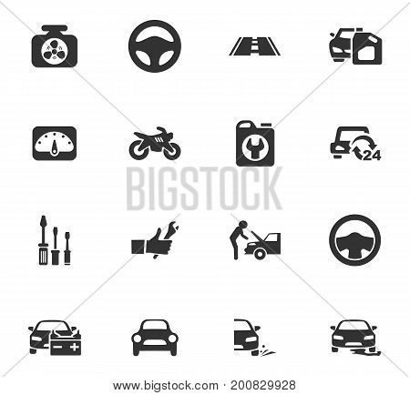 Auto icons set and symbols for web user interface