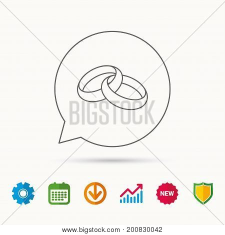 Wedding rings icon. Bride and groom jewelery sign. Calendar, Graph chart and Cogwheel signs. Download and Shield web icons. Vector