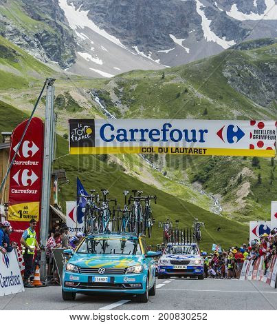Col du Lautaret France - July 19 2014: Technical cars arrive on Col du Lautaret in Hautes Alpes during the stage 14 of Le Tour de France 2014.