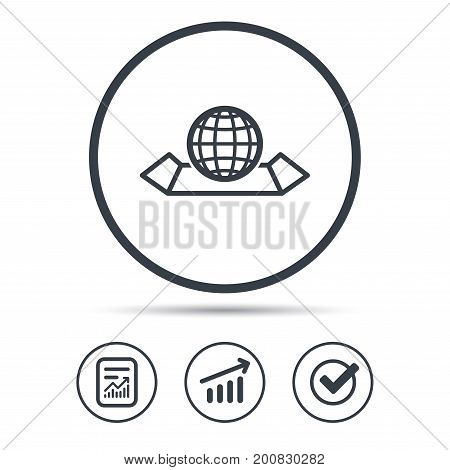 World map icon. Globe sign. Travel location symbol. Report document, Graph chart and Check signs. Circle web buttons. Vector