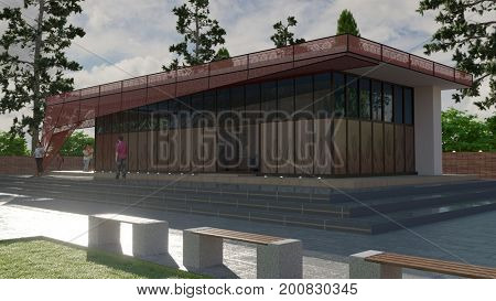 3d rendering of the pavilion with embroidery design