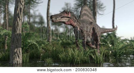 3d rendering of the walking spinosaurus