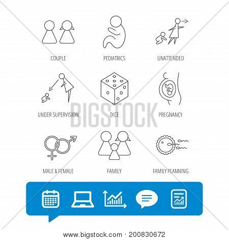 Pregnancy, pediatrics and family planning icons. Under supervision, unattended and baby child linear signs. Dice, male and female icons. Report file, Graph chart and Chat speech bubble signs. Vector