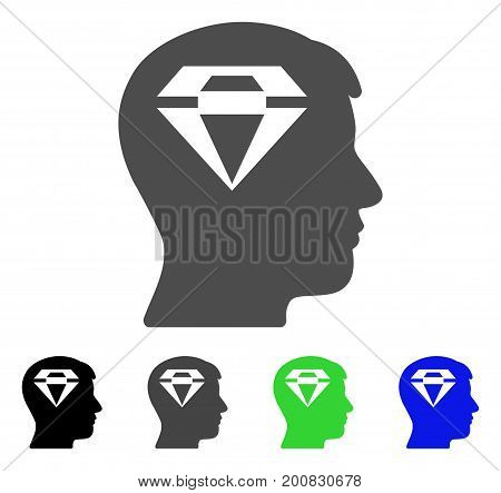 Human Head With Diamond flat vector pictogram. Colored human head with diamond, gray, black, blue, green pictogram versions. Flat icon style for web design.