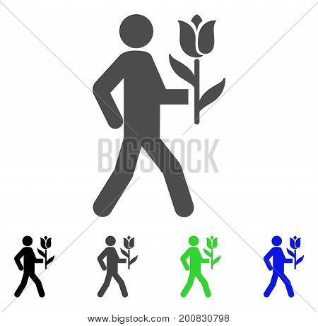 Lover With Flower flat vector pictograph. Colored lover with flower, gray, black, blue, green icon versions. Flat icon style for web design.