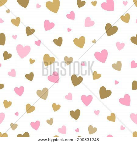 seamless pattern white background with pink and gold hearts. design for holiday greeting card and invitation of baby shower, birthday, wedding, Happy Valentine's day, and mother's day.