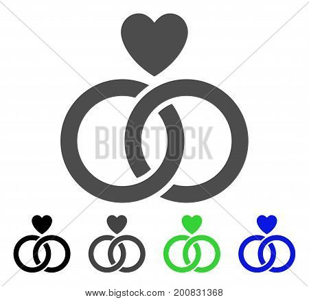 Wedding Rings With Heart flat vector pictogram. Colored wedding rings with heart, gray, black, blue, green icon versions. Flat icon style for web design.
