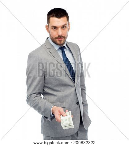 business, people and finances concept - businessman with american dollar money