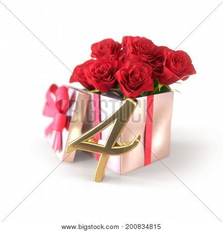 birthday concept with red roses in gift isolated on white background. 3D render - fourth birthday. 4th
