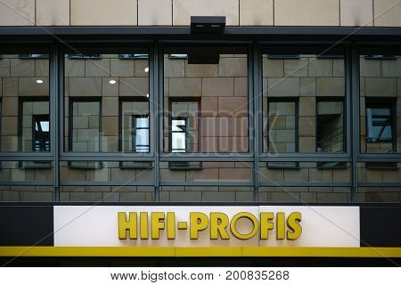 MAINZ, GERMANY - AUGUST 21: The company logo of the electronics store for hi-fi products the Hifi Profis on August 21, 2017 in Mainz.