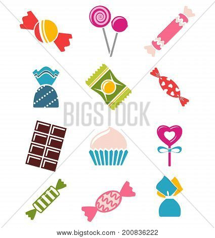 Sweets and candies icons. Vector sweets on white background.