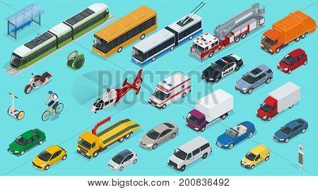 Flat 3d isometric city transport icon set. Taxi, Ambulance, trolleybus, Police, safari travel, Bicycle, Mini, Subway train, Fire-truck, cargo-truck, bus, Electric car, scooter, Sedan.