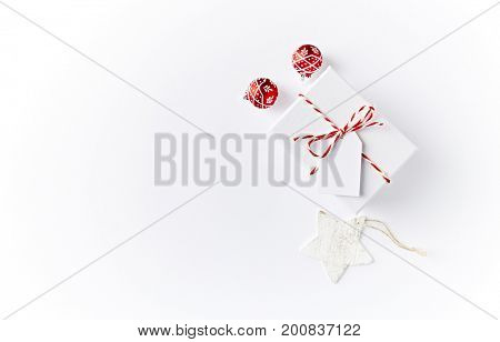 White Christmas Present and Red Christmas Balls
