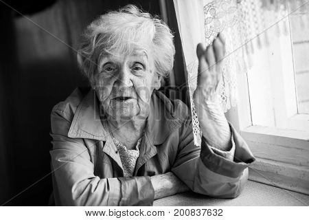 Elderly woman talking and gesturing while sitting at the table.