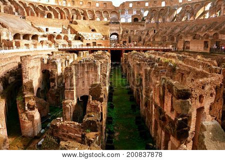 Rome Italy,November 7th 2013.The eighth wonder of the world the Roman Colosseum is two centuries old.This image shows the Colosseum interior showing the effects of erosion after all these years.Come to Rome and walk where the emperors once stood,ciao.