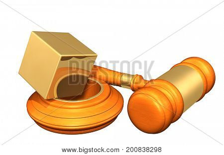 Law Concept Cube Balancing On A Hole 3D Illustration