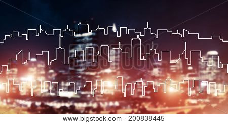 Modern night city scape glowing with lights and its drawn silhouette