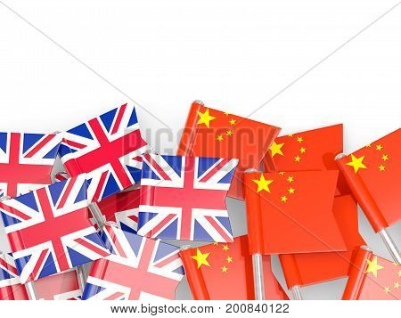 Flag Pins Of United Kingdom And China Isolated On White