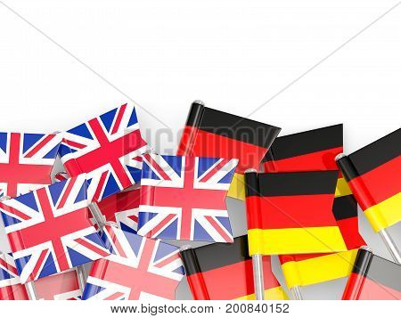 Flag Pins Of United Kingdom And Germany Isolated On White