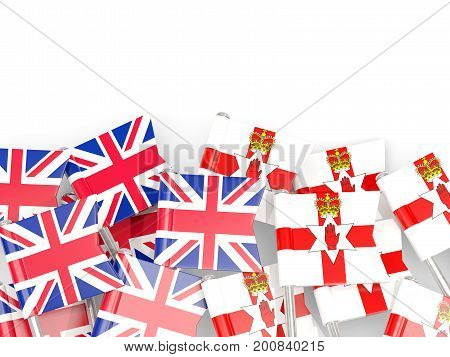 Flag Pins Of United Kingdom And Northern Ireland Isolated On White