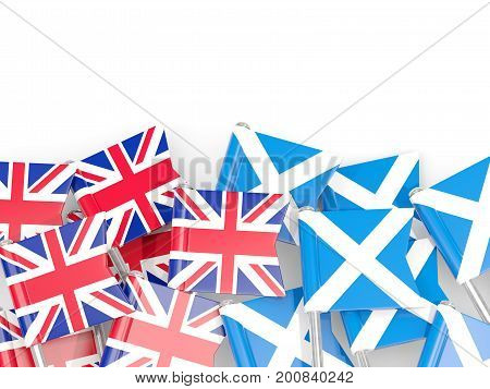 Flag Pins Of United Kingdom And Scotland Isolated On White