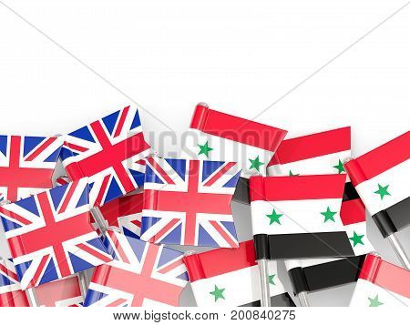 Flag Pins Of United Kingdom And Syria Isolated On White