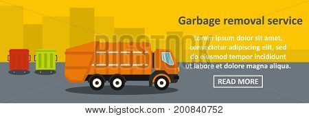 Garbage removal service banner horizontal concept. Flat illustration of garbage removal service banner horizontal vector concept for web