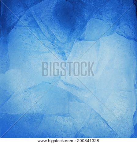 Closeup of cracked blue ice