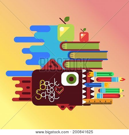 abstract vector illustration with pen case as fish for education concept poster in flat style design with office objects.