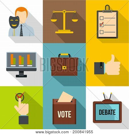 Vote icons set. Flat set of 9 vote vector icons for web with long shadow