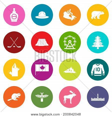 Canada travel icons many colors set isolated on white for digital marketing