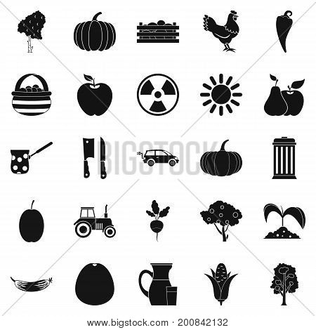 Farmer icons set. Simple set of 25 farmer vector icons for web isolated on white background