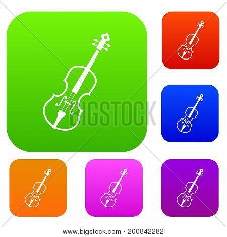 Cello set icon in different colors isolated vector illustration. Premium collection