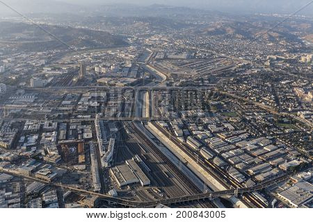 Aerial view of the Los Angeles River, Boyle Heights and the downtown Arts District in Southern California.