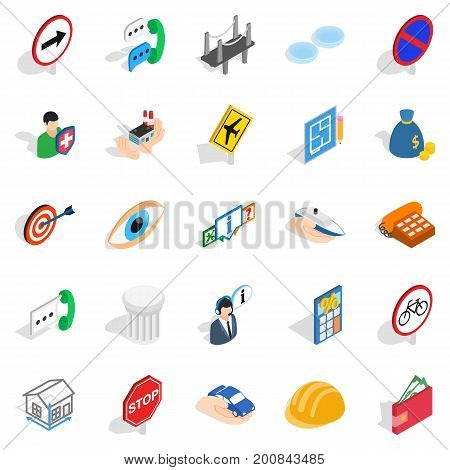 Assist icons set. Isometric set of 25 assist vector icons for web isolated on white background