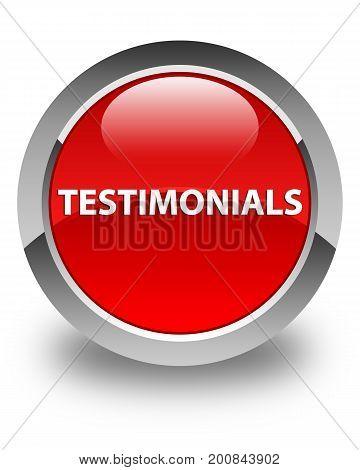 Testimonials Glossy Red Round Button