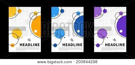 Abstract cover with colorful elements vector illustration. Vertical title pages for presentation book cover annual report flyer graphic design. Standard paper size format creative concept.