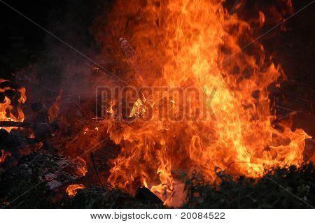 Large wide bonfire