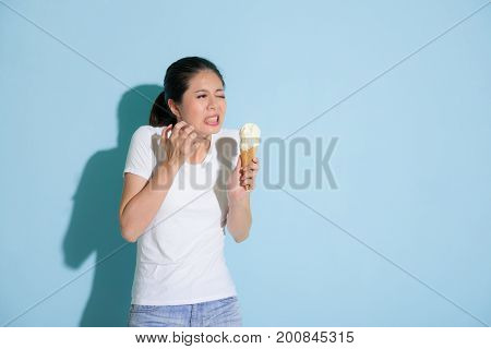 Female Student After Eating Delicious Ice Cream