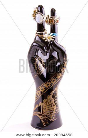 Black porcelain hand jewelry holder