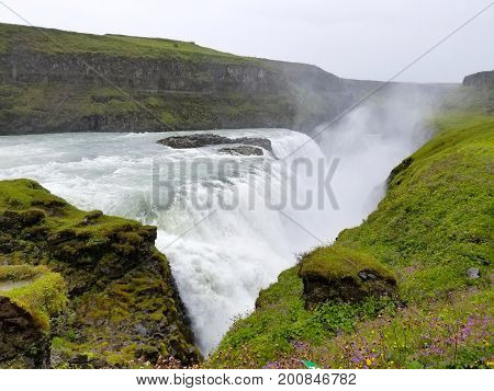 Gullfoss, The Famous Icelandic Waterfall, Part Of The Golden Circle, Iceland, Europe.