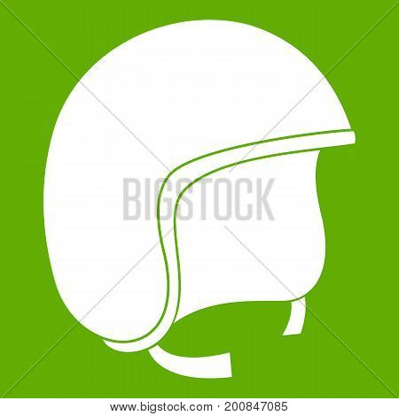 Safety helmet icon white isolated on green background. Vector illustration