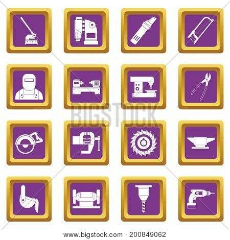 Metal working icons set in purple color isolated vector illustration for web and any design